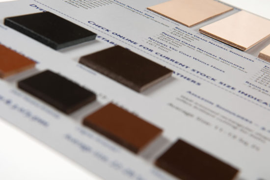 Veg Tan Leather Swatch Card Details
